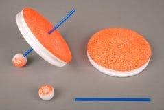 Fiska handgjorda tillförsel Rundarullar för att fiska Runt polystyren köar rullar för att fiska Arkivfoton