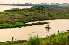 Fiska i Mekong River, Vientiane, Laos Royaltyfri Foto