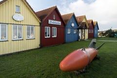 Fiska kojor på norr Frisian royaltyfria bilder
