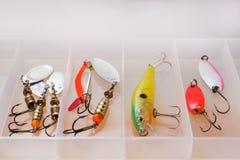 Fiska krokar och bete i en uppsättning för att fånga den olika fisken arkivbilder