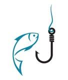 Fiska kroken och fisken Arkivbild
