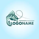 Fiska logoen eller symbolen, design för krokkonturvektor mall Fiska klubban, Fisher Royaltyfri Fotografi