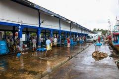 Fiska marknaden i den Beruwala hamnen, Sri Lanka Arkivbild