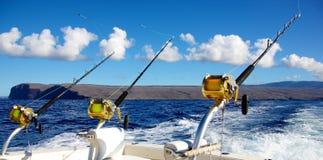 Fiska med drag i för stor lek Arkivbild