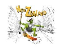Fiska med drag i hopp på en skateboard i stadsgummistöveln New Zealand Handen drog staden skissar Designfashi Arkivbilder