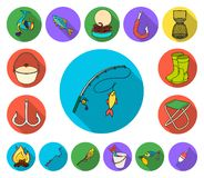 Fiska och vila plana symboler i uppsättningsamlingen för design Redskap för att fiska illustrationen för rengöringsduk för vektor royaltyfri illustrationer