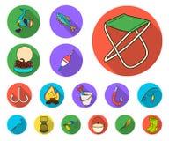 Fiska och vila plana symboler i uppsättningsamlingen för design Redskap för att fiska illustrationen för rengöringsduk för vektor vektor illustrationer