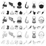 Fiska och vila tecknad filmsymboler i uppsättningsamlingen för design Redskap för att fiska illustrationen för rengöringsduk för  royaltyfri illustrationer