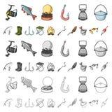 Fiska och vila tecknad filmsymboler i uppsättningsamlingen för design Redskap för att fiska illustrationen för rengöringsduk för  stock illustrationer