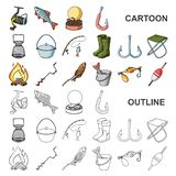 Fiska och vila tecknad filmsymboler i uppsättningsamlingen för design Redskap för att fiska illustrationen för rengöringsduk för  vektor illustrationer