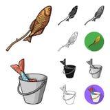 Fiska och vila tecknade filmen, svärtar, plant, monokromt, skisserar symboler i uppsättningsamlingen för design Redskap för att f vektor illustrationer