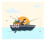 Fiska på fartyget, vektorillustration Fotografering för Bildbyråer