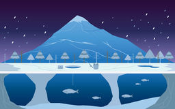 Fiska på is i vinterlandskap royaltyfri illustrationer