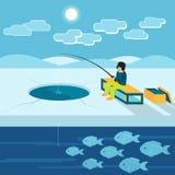 Fiska på isen i vinter Arkivfoto