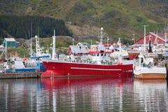 Fiska skepp i hamn Royaltyfria Foton