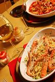 fiska spagetti arkivfoton