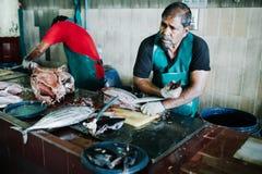 Fiska till salu på fiskmarknaden i staden av mannen, huvudstad av Maldiverna Arkivfoto