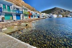 fiska traditionell by Klima Milos Cyclades öar Grekland Fotografering för Bildbyråer