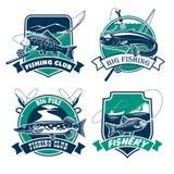 Fiska uppsättningen för för klubbavektorsymboler och emblem Arkivfoto