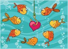 fiskar hjärta stock illustrationer
