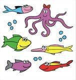 Fiskar och bläckfiskvektor Royaltyfri Bild