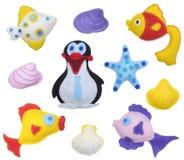 Fiskar och pingvin Fotografering för Bildbyråer