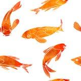 Fiskar sömlös modellguld för vektorn vattenfärgeffekt Fotografering för Bildbyråer