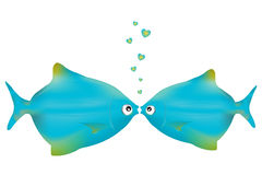 fiskar som kysser vektorn Arkivbild