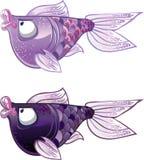 fiskar violeten för gyckel två stock illustrationer