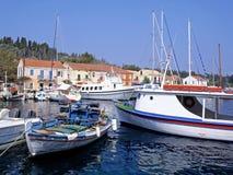 Fiskardo Harbour. The harbour at Fiskardo on the greek island of Kefalonia stock photo
