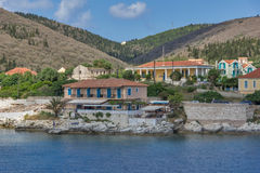 FISKARDO, KEFALONIA, GREECE - MAY 25  2015:  Amazing Panoramic view of town of Fiskardo, Kefalonia, Greece Royalty Free Stock Image