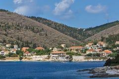 FISKARDO, KEFALONIA, GREECE - MAY 25  2015:  Amazing view of town of Fiskardo, Kefalonia, Greece Stock Photography