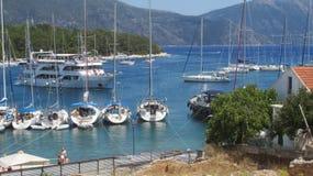 Fiskardo, Kefalonia, Greece,. Yacht harbour and marina, Fiskardo, Greek island, Kefalonia, Ithaca in the background Stock Photography