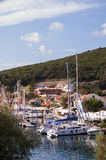 Fiskardo harbour, on the Island of Kefalonia in Gr Royalty Free Stock Photo
