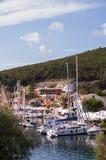 Fiskardoharbour, na wyspie Kefalonia w Grecja Zdjęcie Royalty Free