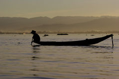 Fiskare av Inle laken Arkivbilder