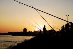 Fiskare Fishing Rod Silhouette Royaltyfri Fotografi