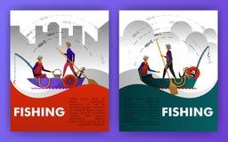 Fiskare fiskar på kanten av porten, de bärande kanoterna och det traditionella fiska kugghjulet vara kan bruk för som landar sida vektor illustrationer