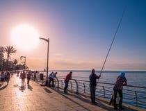 Fiskare i Beirut, Libanon Fotografering för Bildbyråer