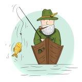 Fiskare i ett fartyg med en metspö Arkivfoton