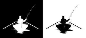 Fiskare i fartygkontur vektor illustrationer
