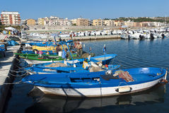 Fiskare i hamnen Arkivbild