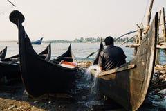 Fiskare i Kochi Arkivbild