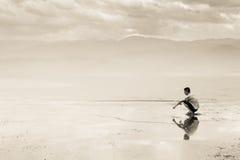 Fiskare i Qionghai sjön - Kina Arkivfoto