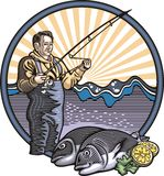 Fiskare Illustration i träsnittstil Arkivfoto