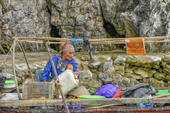 Fiskare kvinna i Vietnam Arkivbild
