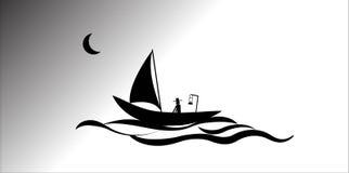 Fiskare logo, hav, vektor, illustratör vektor illustrationer