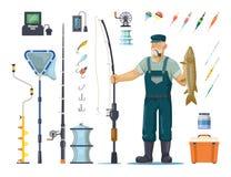 Fiskare med fisken nära polen, stång, krok, redskap vektor illustrationer