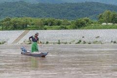 Fiskare Mekong River, Laos Royaltyfri Fotografi