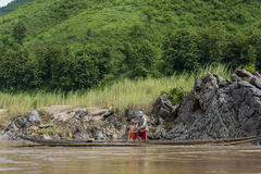 Fiskare Mekong River, Laos Royaltyfri Bild